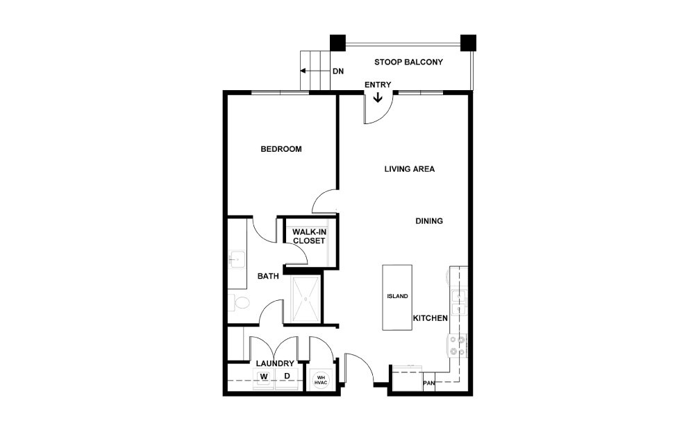 A - 1 bedroom floorplan layout with 1 bath and 727 square feet. (2D)