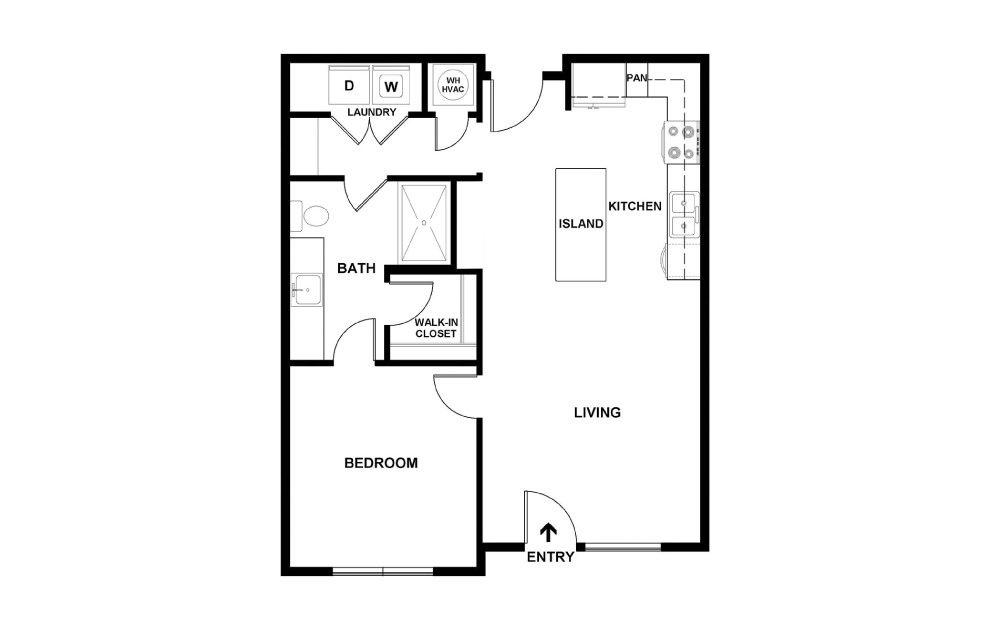 B - 1 bedroom floorplan layout with 1 bath and 707 square feet. (2D)