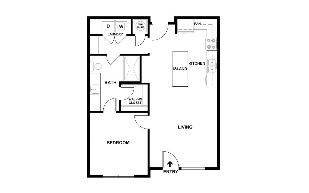 B2 - 1 bedroom floorplan layout with 1 bath and 707 square feet. (2D)