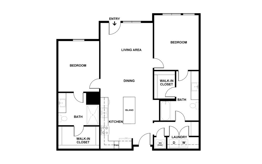C - 2 bedroom floorplan layout with 2 baths and 1067 square feet. (2D)