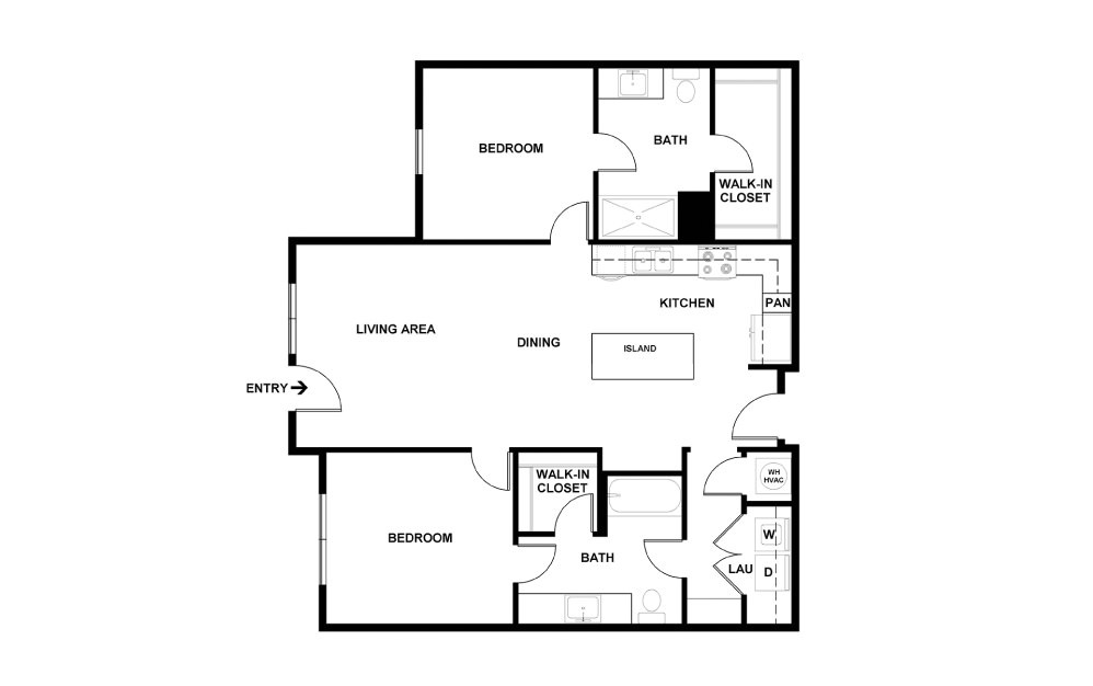 G - 2 bedroom floorplan layout with 2 baths and 1025 square feet. (2D)