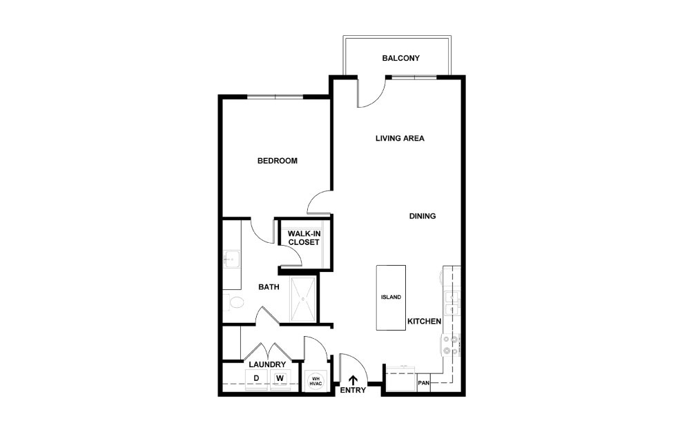 I - 1 bedroom floorplan layout with 1 bath and 753 square feet. (2D)