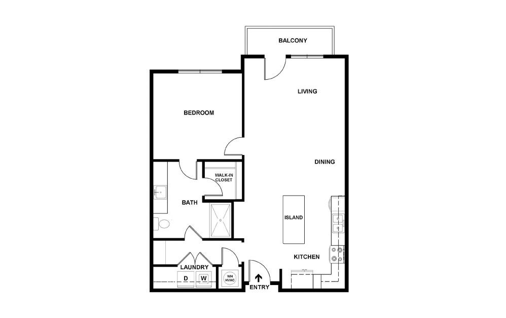 J - 1 bedroom floorplan layout with 1 bath and 790 square feet. (2D)