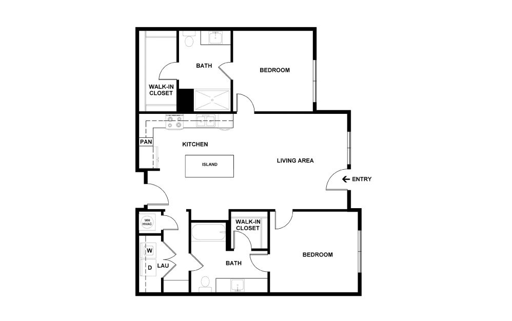 K - 2 bedroom floorplan layout with 2 baths and 979 square feet. (2D)
