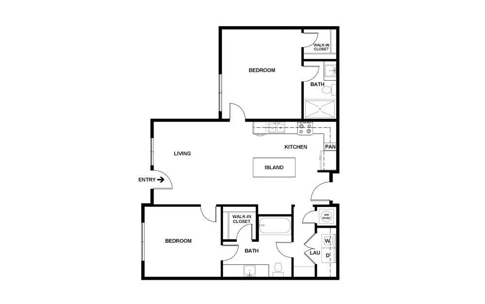 L - 2 bedroom floorplan layout with 2 baths and 963 square feet. (2D)