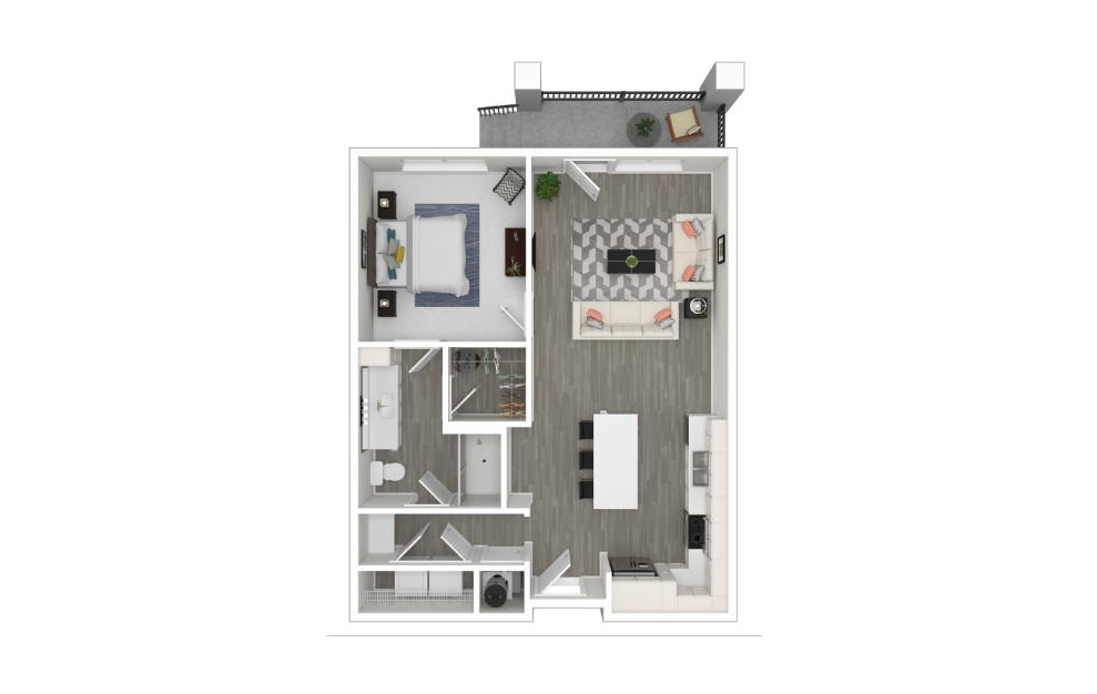 A - 1 bedroom floorplan layout with 1 bath and 727 square feet. (3D)