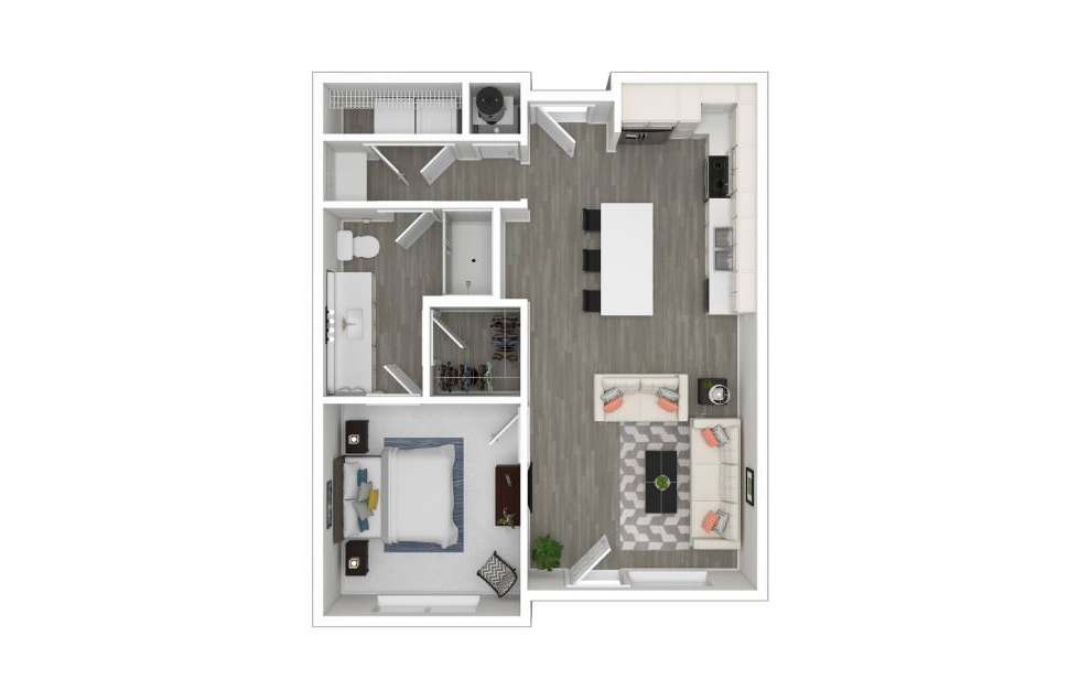 B - 1 bedroom floorplan layout with 1 bath and 707 square feet. (3D)