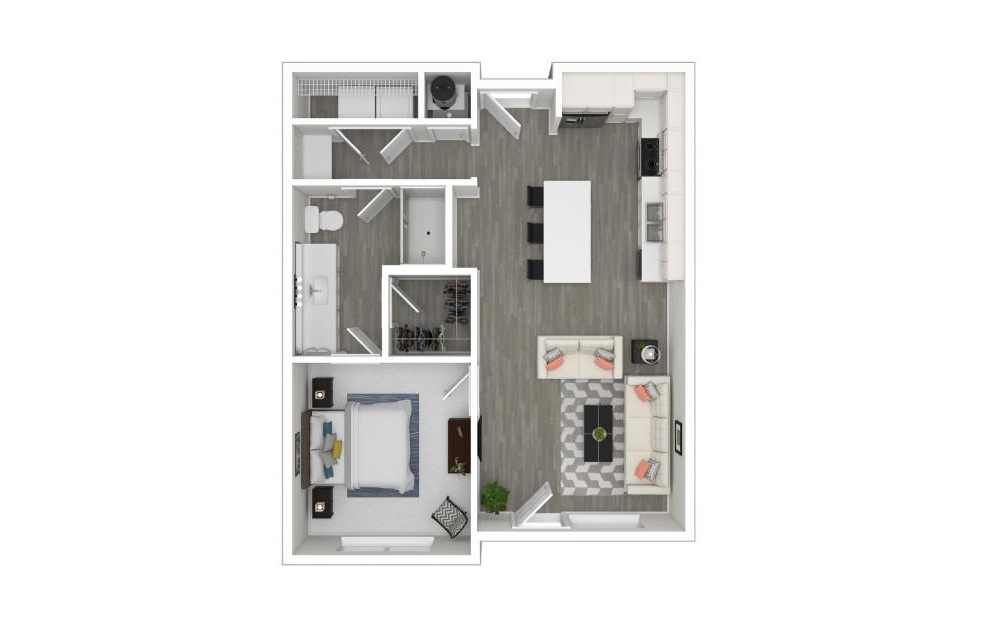 B2 - 1 bedroom floorplan layout with 1 bath and 707 square feet. (3D)