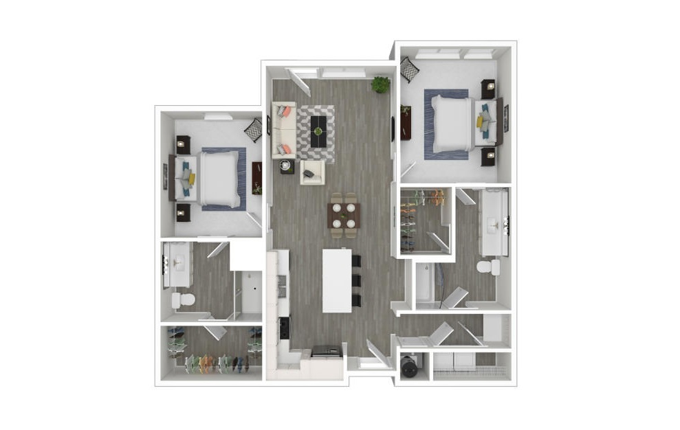 C - 2 bedroom floorplan layout with 2 baths and 1067 square feet. (3D)