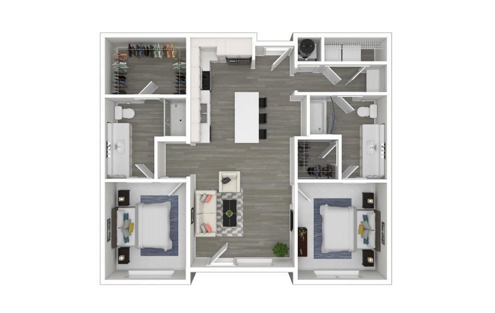 D - 2 bedroom floorplan layout with 2 baths and 1019 square feet. (3D)