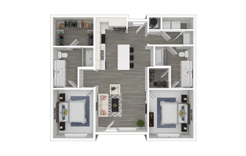 D2 - 2 bedroom floorplan layout with 2 baths and 1019 square feet. (3D)
