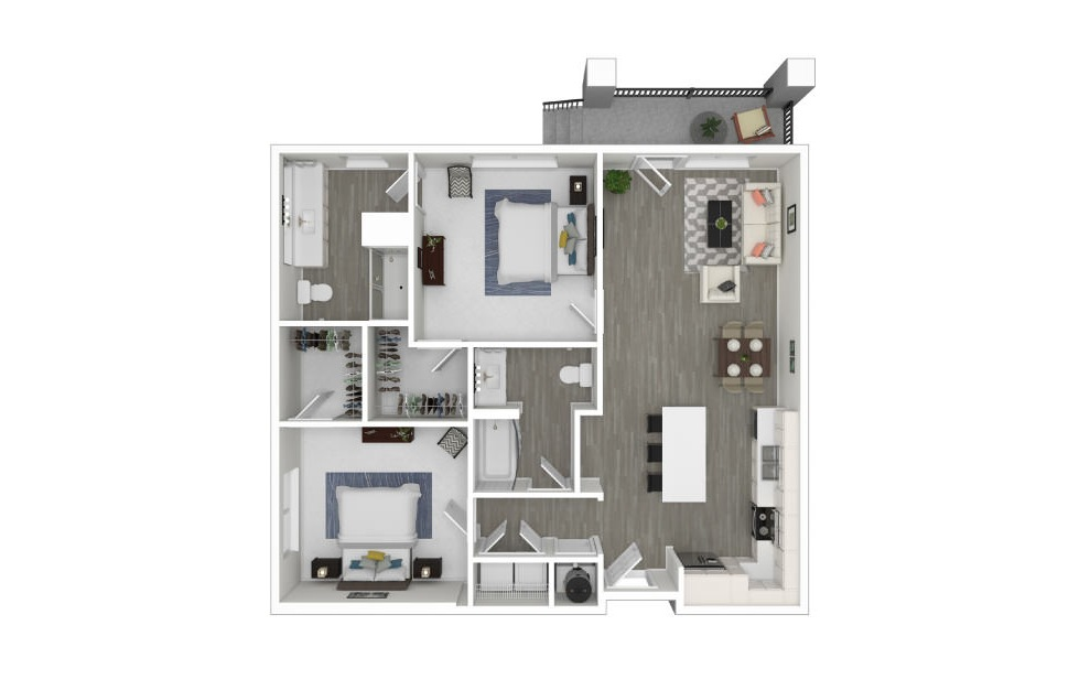 F - 2 bedroom floorplan layout with 2 baths and 1022 square feet. (3D)