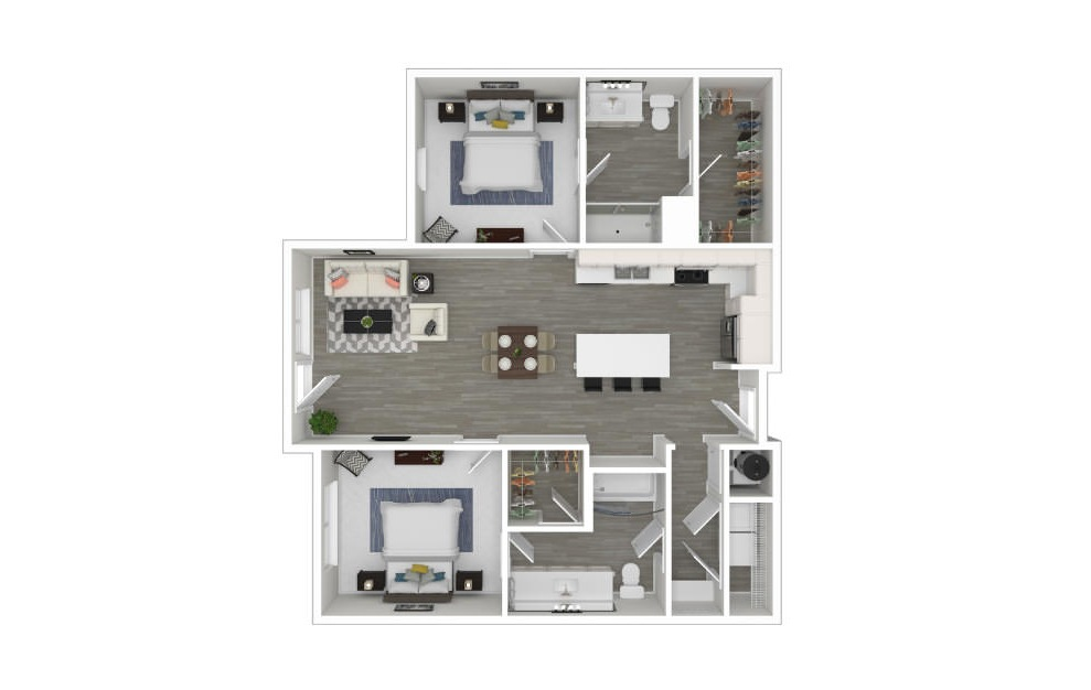 G - 2 bedroom floorplan layout with 2 baths and 1025 square feet. (3D)