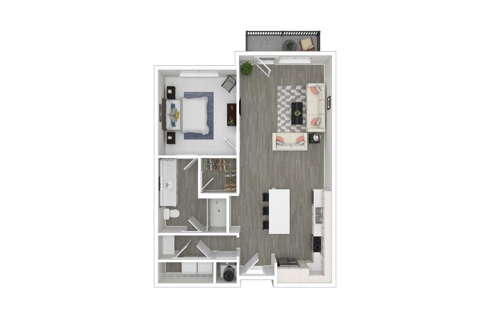 I - 1 bedroom floorplan layout with 1 bath and 753 square feet. (3D)