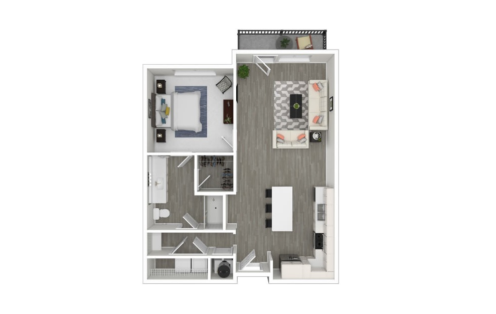 J - 1 bedroom floorplan layout with 1 bath and 790 square feet. (3D)
