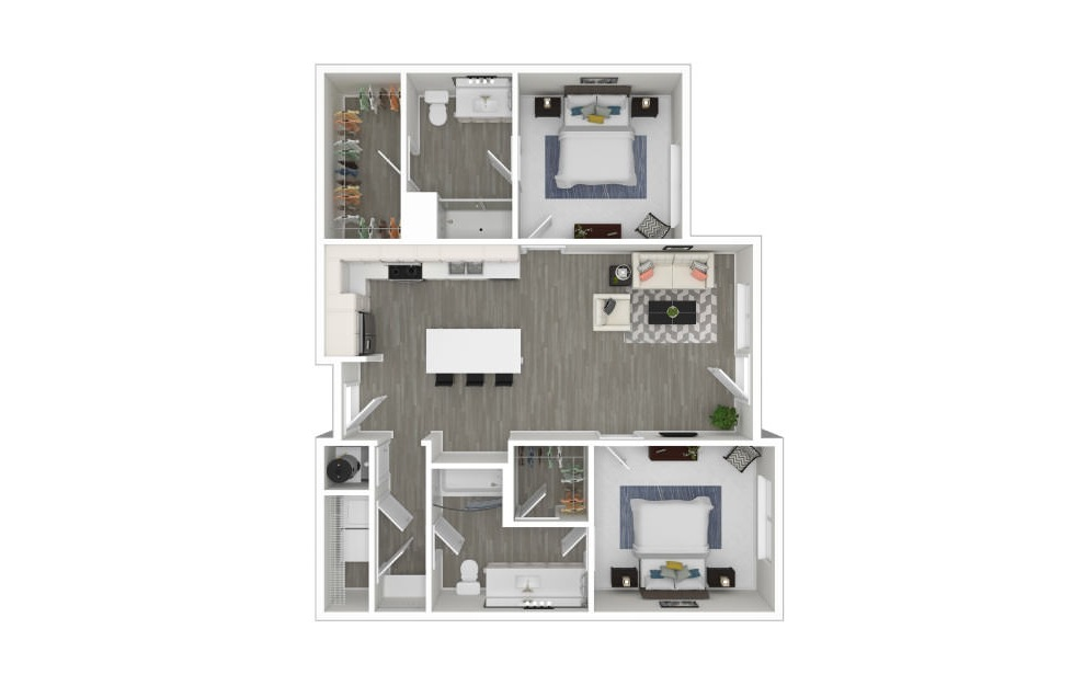 K - 2 bedroom floorplan layout with 2 baths and 979 square feet. (3D)