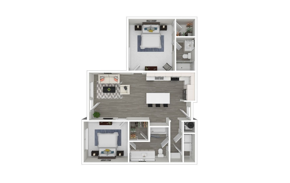 L - 2 bedroom floorplan layout with 2 baths and 963 square feet. (3D)