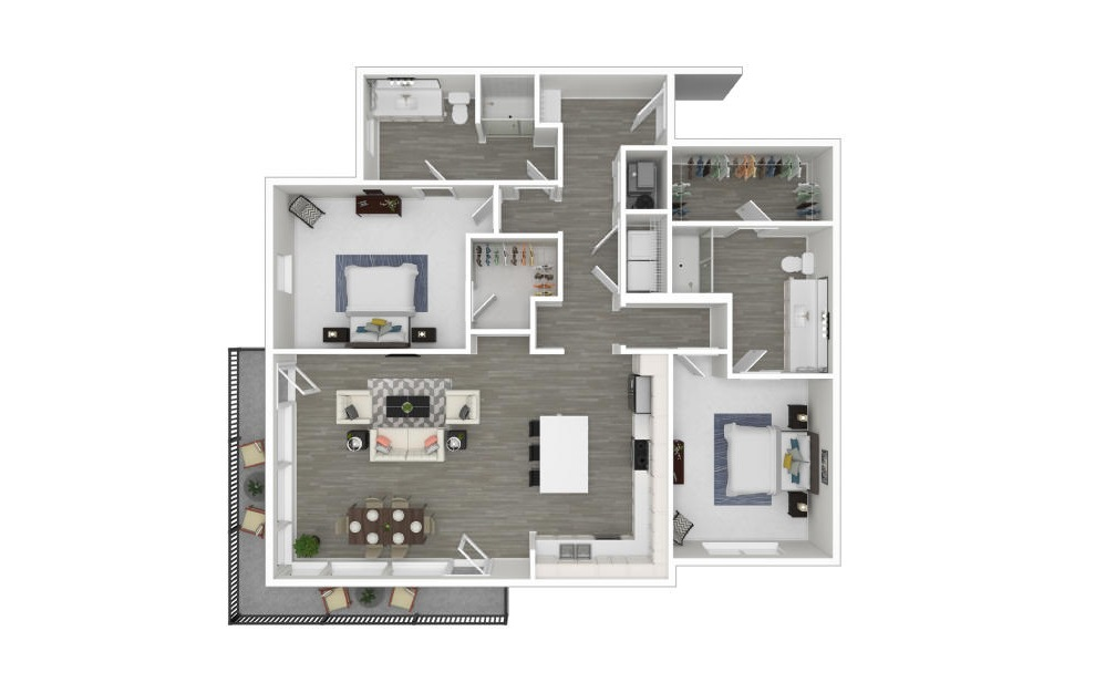 M - 2 bedroom floorplan layout with 2 baths and 1357 square feet. (3D)